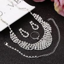Hot Selling Rhinestone Crystal Choker Necklace Earrings Bracelet Ring Wedding Jewelry Sets Wedding Accessories