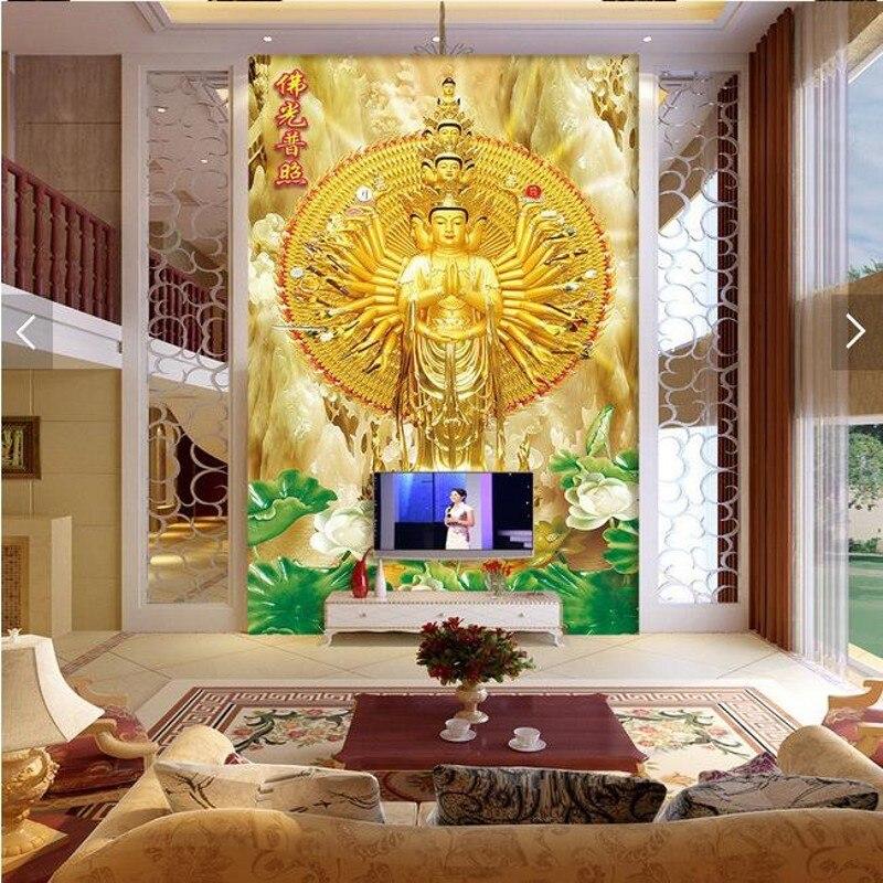 Photo Wallpaper 3D Stereo Mural Temple Entrance Living Room TV Background  Corridor Golden Buddha Wallpaper Mural