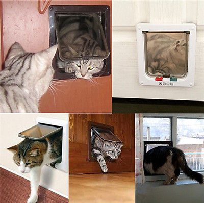 4 Way Lockable Pet Flap Door For Large Medium Small Size Dog Cat White/coffee #4