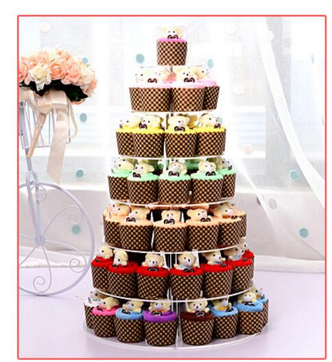 30pcs/lot!  Creative Lovely Mini Bear Cup Cotton Cake Towel 2019 new Hand Towel Face Towel Party Gifts