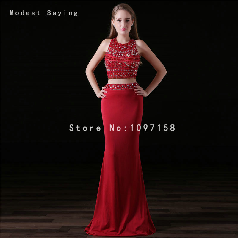 3e254e1e588e8f Elegant Dark Red Mermaid Beaded Crop Top Prom Dresses 2017 with Rhinestone  Formal Girl Party Prom Gown vestido de formatura A006-in Prom Dresses from  ...