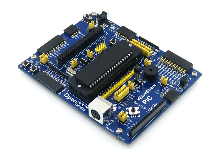 Waveshare Open16F877A Standard PIC Development Board Designed For PIC16F Series Features The PIC16F877A MCU Expansion Board