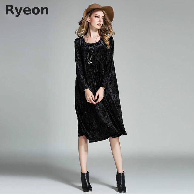 Tamanho grande inverno de veludo longo mulheres vestidos a linha sólida do vintage da luva completa do joelho-comprimento bolsos oversized ladies casual dress