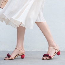 summer new womens sandals leather fabrics beautiful strawberry decoration fashion type heel women shoes