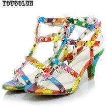 Summer Open toe High Heels(7.5cm) Sandals Women Sexy Rivets Sandal Fashion Ladies Thin Heel Shoe Woman Black White RainBow Shoes