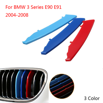 3 Color Kidney Grille Bar Cover Stripe Clip Decal For BMW 3 Series E90 E91 2004-2008 image