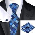 Мода Мужская Галстук Темно-Синий Темно-Синий Плед Шелк Жаккард галстук Ханки Запонки Набор Бизнес Свадьба Галстуки Для Мужчин C-1149