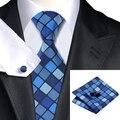 Moda laço dos homens azul escuro azul marinho xadrez de seda Jacquard gravata Hanky punho Set Wedding Party negócios laços para homens C-1149