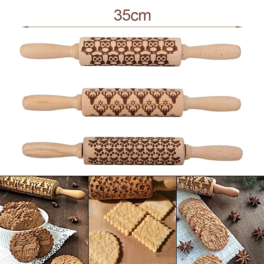 Christmas Rolling Pin Engraved Carved Wood Embossed