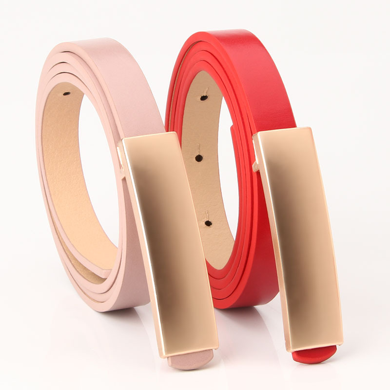 2020 New Red Black Pink White Brown Narrow Thin Faux Leather Belt Waistband Womens Gold Buckle Belts For Women Dresses Straps
