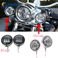 (Black & Chrome) 4.5 inch housing Ring Mount Bracket with 4.5 inch Auxiliary Fog Passing Lights For Harley Electra Glide Dyna