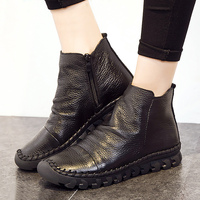 Genuine Leather Boots Women Shoes 2017 Hot Ankle Wedges Paeated Cow Leather Boots Autumn Shoes Solid