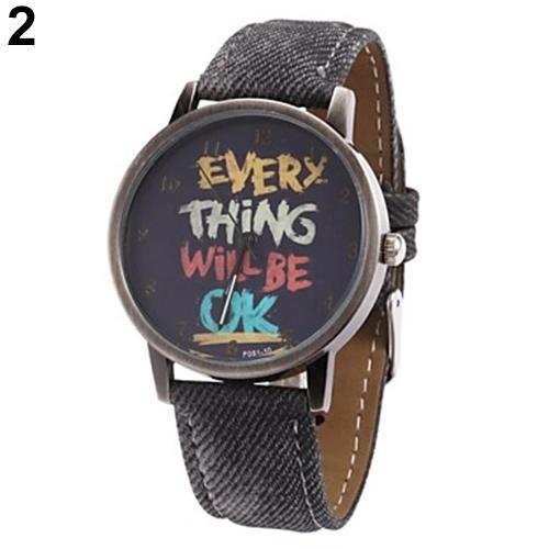 Men's Women's Every Thing Will Be Ok Denim Band Analog Quartz Dress Wrist Watch