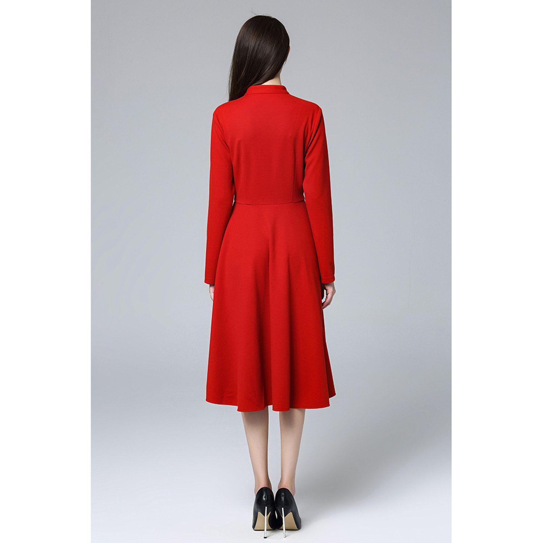 Marina Kaneva New Autumn And Winter V-neck Large Size Dress Female Long Sleeve Fat Mm Slim Temperament Fashion Dress
