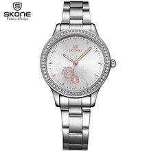 SKONE de Marca Rhinestone Banda de Acero Reloj de Las Mujeres de Moda Rosa Flor de Oro Dial Dress Relojes de Negocios Reloj de Pulsera De Lujo(China (Mainland))