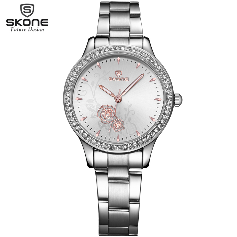 SKONE Brand Steel Band Rhinestone Watch Women Fashion Rose Gold Flower Dial Dress Business Watches Luxury Wristwatches Clock rosra brand men luxury dress gold dial full steel band business watches new fashion male casual wristwatch free shipping
