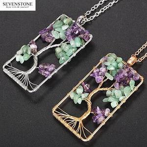 SEVENSTONE Necklaces Jewelry Amethysts Crystal Tree-Of-Life-Pendant Gravel Square Women