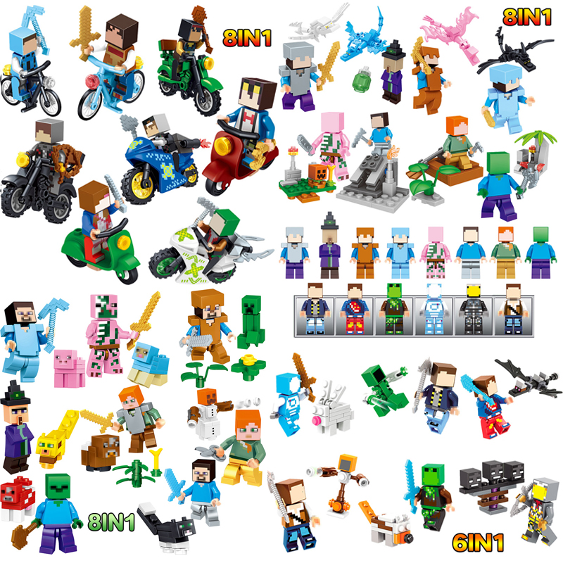 CHAUDE Minecrafted Steve Alex Zombie Enderman Reuben Squelette Arme Figurines Jouets Compatible Avec LegoINGlys Blocs