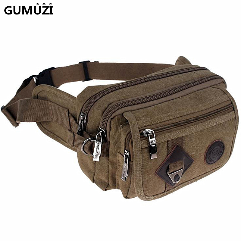 High Quality Fashion Casual Canvas Men Waist Packs Messenger Bags Portable Vintage Men Phone Purse Travel Bag Belt Wallets