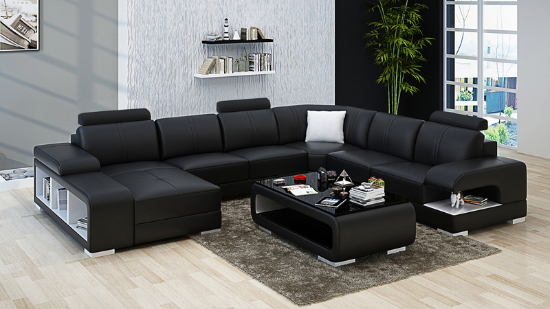 Black leather sofa set 7 seater leather living room furniture