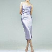 Индивидуальные натуральное шелковое платье воротник хомут одноцветное Цвет пикантные вечерние шелковое платье Классический розовый серы