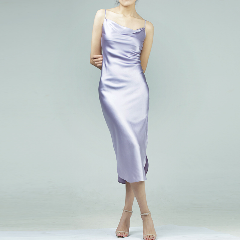 Customized Natural Silk Dress Cowl Collar Solid Color Sexy Party Silk Dress Classic Pink Grey Natural Silk long Dress