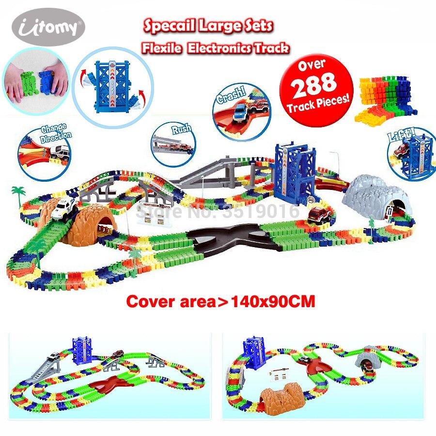 Créer un virage routier Flexile piste Specail grand ensemble de luxe sur 216-288 pièce Playset avec accessoires voitures ferroviaires jouets