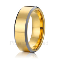 new arrival Anel Titanium jewelry unique cool gold color and silver color side wedding band rings men