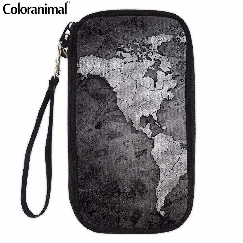 Coloranimal World Map Print Women Men Multi Pocket Card Wallet Ladies Fashion Hand Hold Crossbody Shoulder Bags to Credit Card