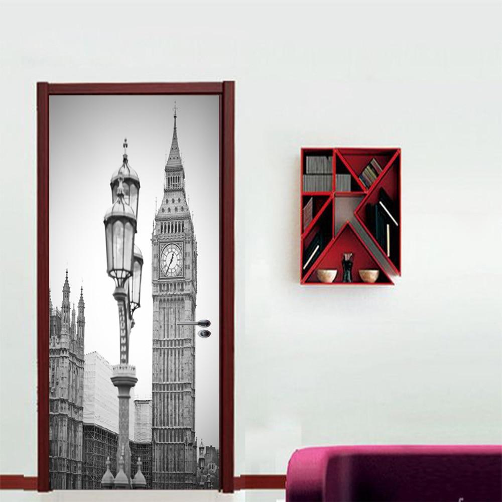 Image 4 - Black White Old Photo PVC Removable 3D City Vintage Scenic Fridge Sticker Wall Door Stickers Street Lamp Big Ben Clock Pattern-in Door Stickers from Home & Garden