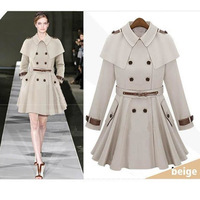 Women Collared Double Breasted Blend Parka Coat outwear trench jacket women poncho military coats