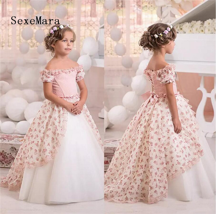 Off Shoulder Print Vintage Flower Girls Dresses Short Sleeves Lace Little Girls Gowns Pageant Dress Communion Kids Formal Wear light coffee knitted long sleeves off shoulder midi dress