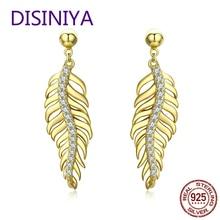 DISINIYA  Genuine 925 Sterling Silver Vintage Feathers Dazzling CZ Drop Earrings for Women Wedding Engagement Jewelry BSE021