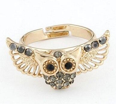 Anéis baratos por atacado de Moda Coreano 14 k banhado a ouro anel de strass coruja frete grátis por us $15 para mini misto 3 pçs/lote