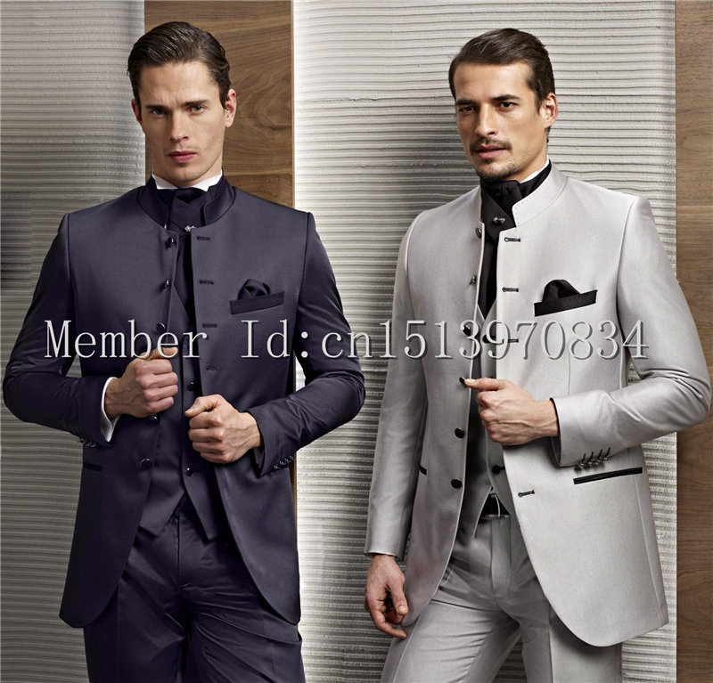 2017 Hot Sale 2 Color Groom Tuxedos Stand Collar Groomsmen dresses ...