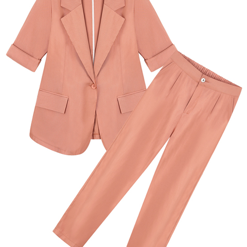 Office Lady Casual Solid Women Pant Suits Blazer Jacket Women Wear to Work fashion Suits 2019 Summer Casual 2 Pieces Set Islamabad