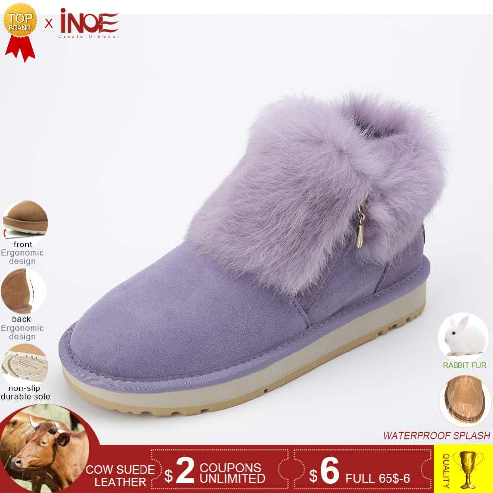 905a7b08 INOE модная зимняя женская обувь натуральная коровья замша зимние ботильоны  удобные тёплые сапоги зимние женские короткие