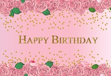 Laeacco Happy Birthday Flower Golden Dot Scene Baby Photography Backgrounds Customized Photographic Backdrops For Photo Studio