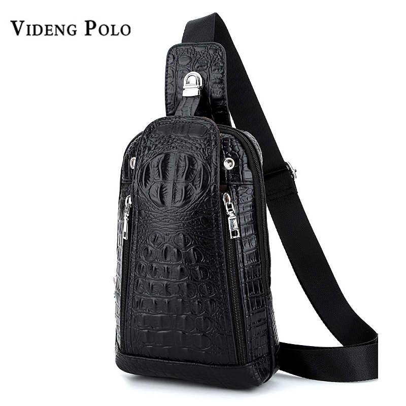 VIDENG POLO Brand Designer Crocodile Pattern Men Vintage Crossbody Shoulder Bag Male Business Chest Pack Leather Messenger Bags