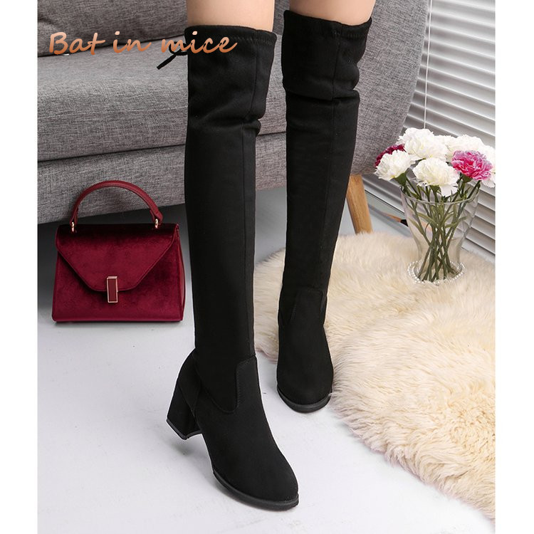 Women Casual Over the Knee boots shoes Winter women Female Round Toe Platform high heels pumps Warm Snow Boots shoes mujer W391 new arrival winter flat heel over the knee women boots round toe snow boots knee high warm winter female boots black brown white