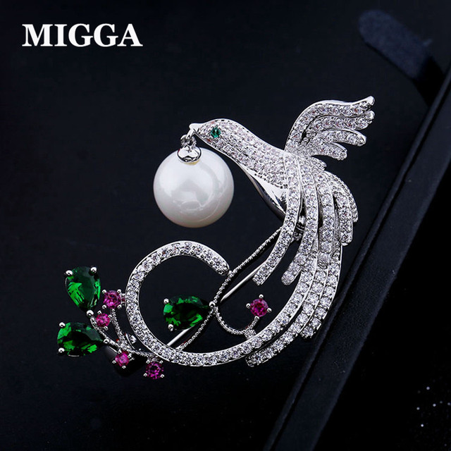 MIGGA Fashion Pearl Brithday Gift Animal Phoenix Brooch Luxury Colorful Jewelry Paved Dress Accessory Brooches for Women