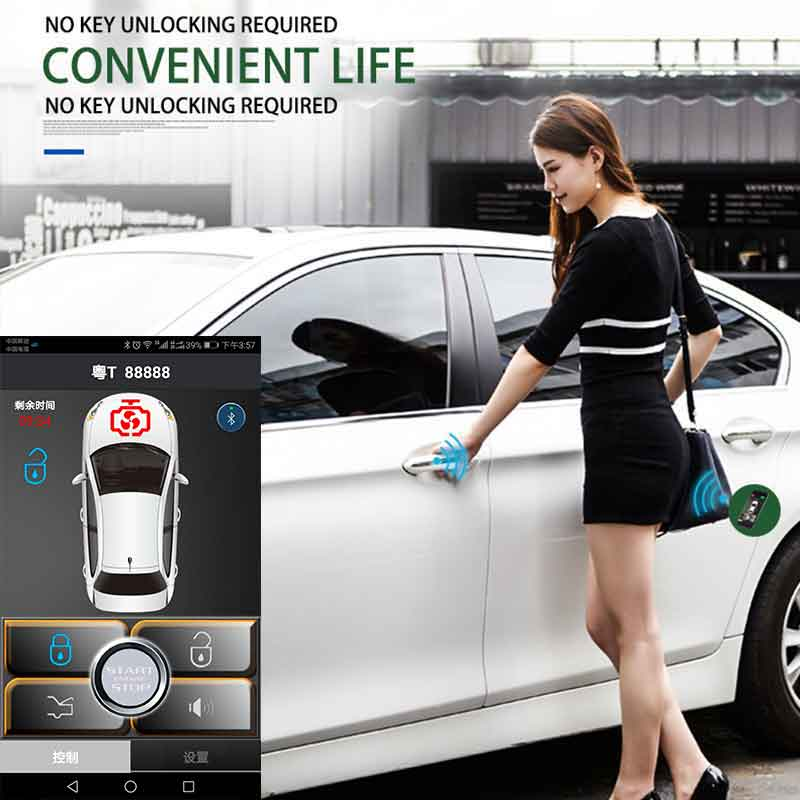 PKE Smart Key Remote Keyless Entry Central Locking/Unlock Control Button Android Passive Auto Smartphone Car Alarm Security