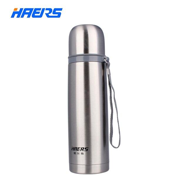 Haers 500ml נירוסטה תרמוס 12 24 שעות שכבה כפולה מבודד ואקום מים בקבוק HB 500F