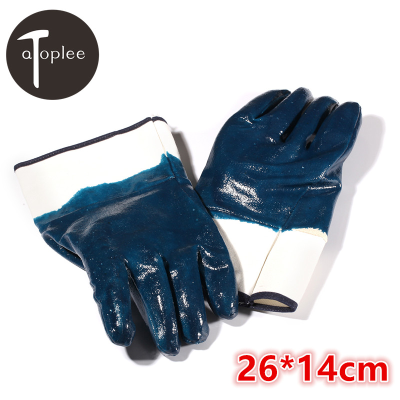 Atoplee 1Pair Blue Nitrile Rubber Men's Work Gloves Waterproof Oilproof Gloves Safety Cuff Paint Processing Work Gloves insulated gloves electric gloves 5kv anti live live work high pressure live work labor protection protective rubber gloves