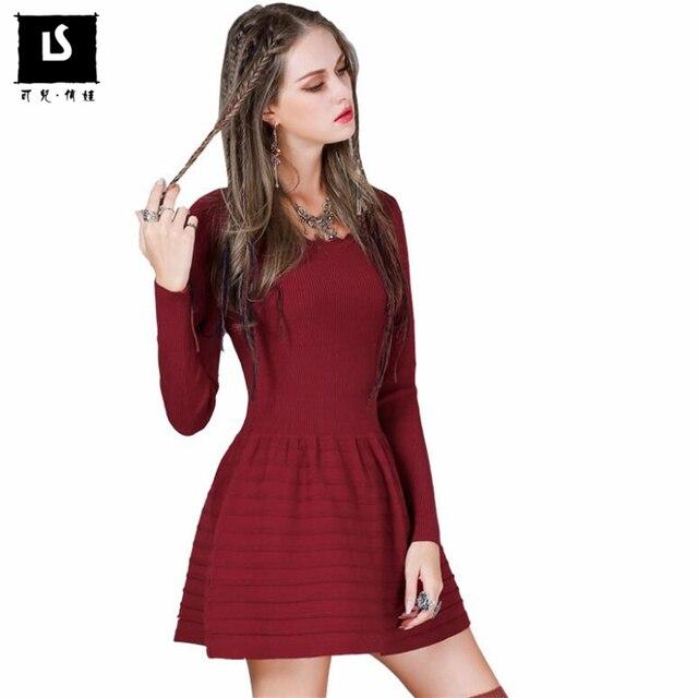 08a43ef8e7b3 Mais recente Moda Feminina Suéter de Lã Vestido Outono Inverno Manga Longa  Ocasional Do Vintage Mini