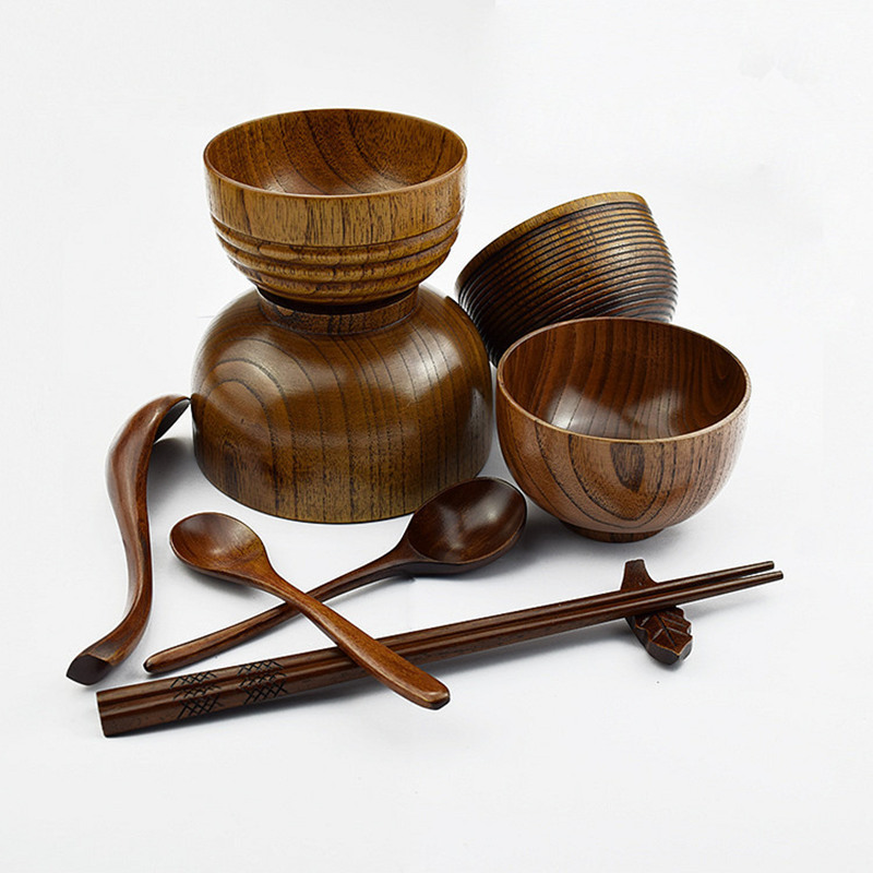 Natural Wooden Tableware Dinnerware Sets Bowl Kids Dinner Service Wholesale Factory Direct Sales