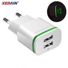 XEDAIN Высокое качество телефон USB быстрое зарядное устройство ЕС/США штекер 2.1A настенное зарядное устройство с двумя портами 2 USB светодиодный светильник адаптер питания для быстрой зарядки