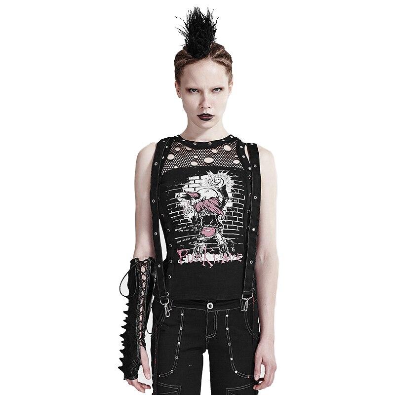 Punk Rock Bandage T-shirt nouveauté imprimé réservoir hauts cassé-trou évider gothique sans manches femmes gilet maille noir gilet