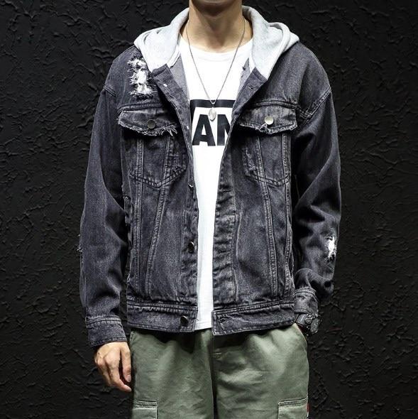2019 nueva marca para hombre chaqueta de mezclilla Casual