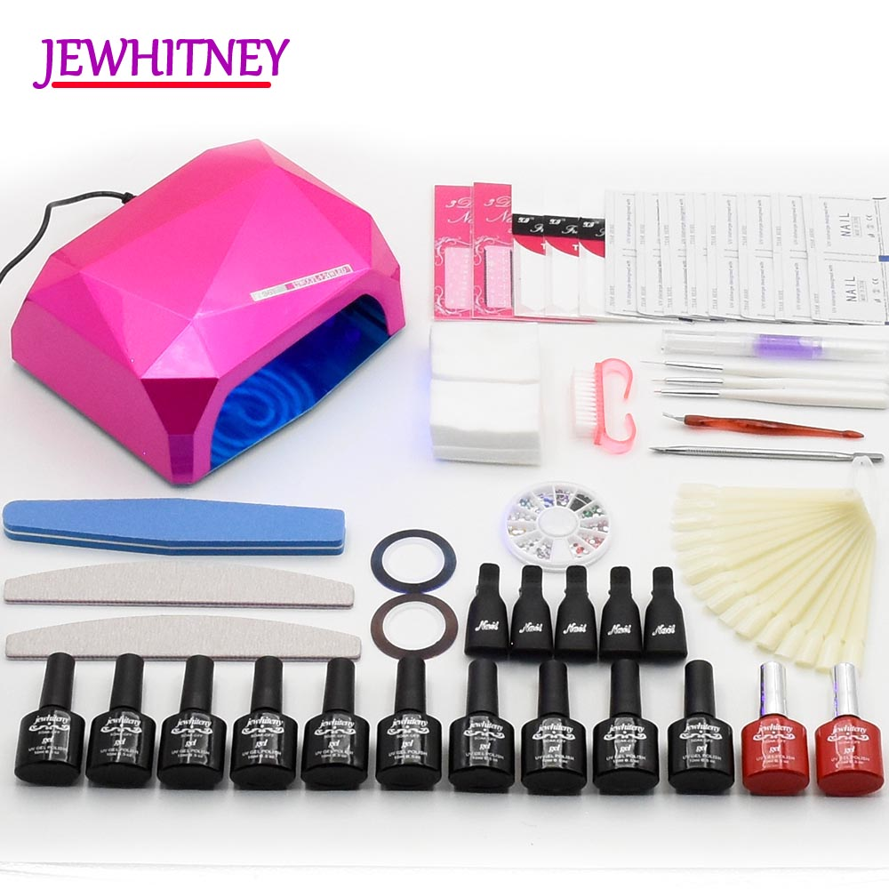 Nail Gel Polish Nail Art Set 36w LED UV lamp Dryer 6 10 colors UV Gel Varnish Kit Maniucre Sets Nail Tools em 128 free shipping uv gel nail polish set nail tools professional set uv gel color with uv led lamp set nail art tools
